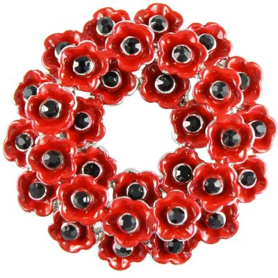 Triple wreath poppy brooch